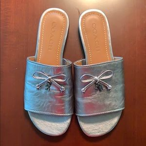 Coach Leather Metallic Tassel Slide Sandal